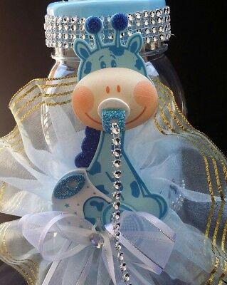 Giraffe Centerpiece Bottle Big Large Baby Shower Piggy Bank Boy/Decoration,cake ](Blue Giraffe Baby Shower Decorations)