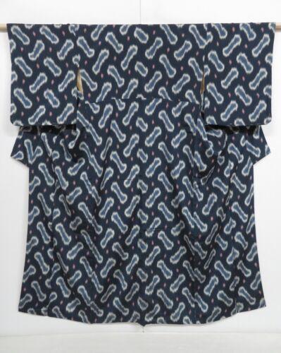 1019i07z890 Vintage Japanese Kimono Silk OMESHI KOMON Dark navy