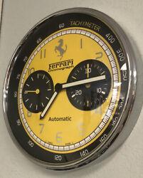 Ferrari Wall Clock Luxury Replica Chronograph Yellow/Black