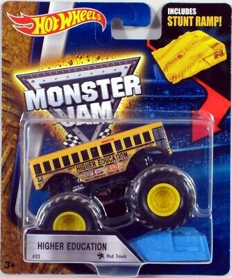 Hot Wheels Monster Jam HIGHER EDUCATION #03 with Blue Ramp 2016 NEW MUD TREADS!