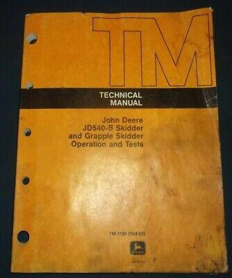 John Deere Jd540b 540b Skidder Technical Service Shop Op Test Manual Book Tm1139