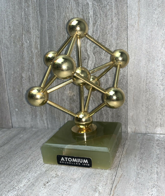 1958 Atomium Souvenir Brussels Worlds Fair Atomic Space Age Paperweight Marble
