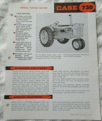 Case 730 Tractor Specification Sheet Brochure General Purpose Tractor