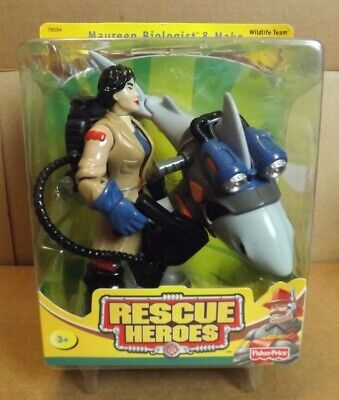RESCUE HEROES MAUREEN BIOLOGIST & MAKO NEW ON CARD 2002 FISHER PRICE