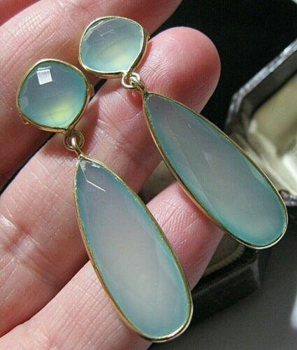 Beautiful Jewellery Sterling SILVER Aqua Chalcedony 31.26cts Gem Stone EARRINGS