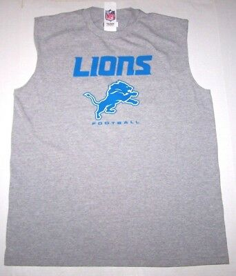 Nwt New Detroit Lions Football NFL Logo Tank Top Muscle Shirt Tee Gray Nice Men