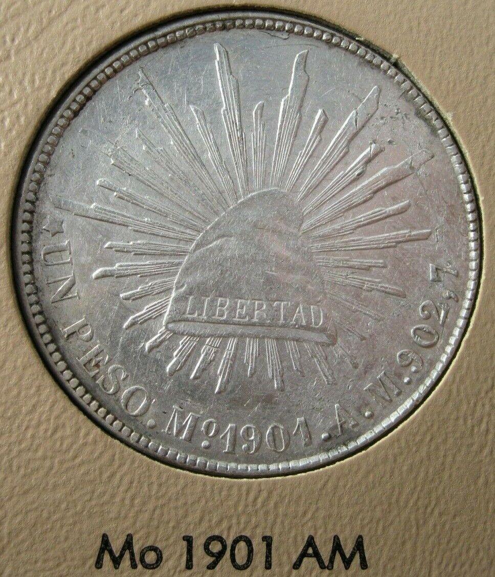 Mexico 1901 Mo AM Silver Liberty Cap Peso Coin 15 Circulated - $47.49