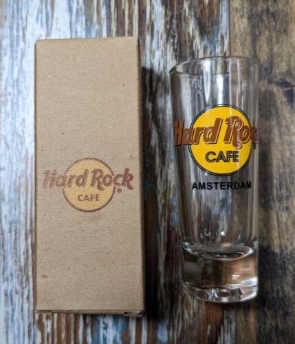 Hard Rock Cafe Amsterdam 4 Inch Tall Shot Glass With Original Box - $16.95