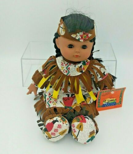 """Native American Indian Doll 12"""" Vintage by GIGO Toys New with Tags"""
