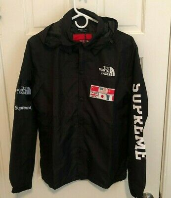 North Face Supreme World Map Expedition Coat Jacket BLACK / BLACK -- Medium