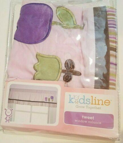 Girls Kidsline Brand Grow Together Tweet Tulips Multicolor Window Valance 60x14