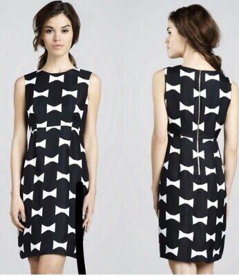 EUC Kate Spade Cora Black White Bow Print Dress party Women's Size 12 MSRP $398