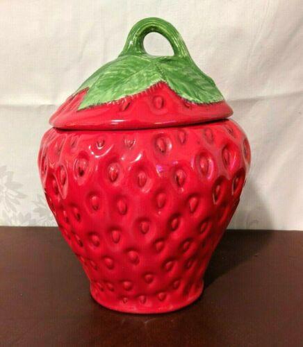 """Vintage Strawberry ceramic cookie jar 10"""""""