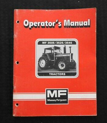 Original Massey-ferguson Mf 3505 3525 3545 Tractor Operators Manual Very Clean