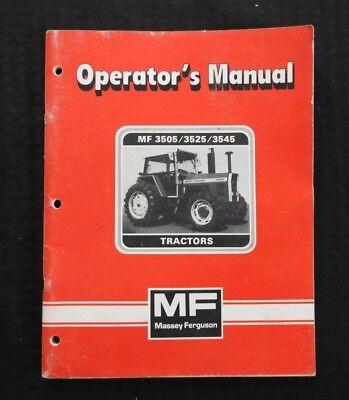 Original Massey-ferguson Mf 3505 3525 3545 Tractor Operators Manual Very Clean