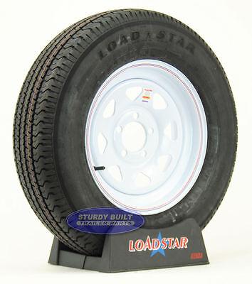 """(2)- Trailer Tires ST 205/75R15 Load Range C Radial 5 Bolt White Spoke 15"""" Rim"""