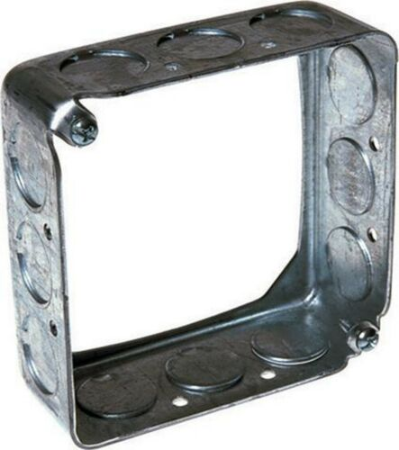 Raco 4 Inch Square Steel Box Extension Gray 1/2 Inch Knockouts