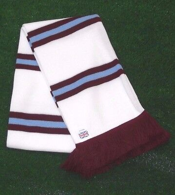 West Ham Colours White Retro Bar Scarf - White,Burgundy & Blue - Made in UK