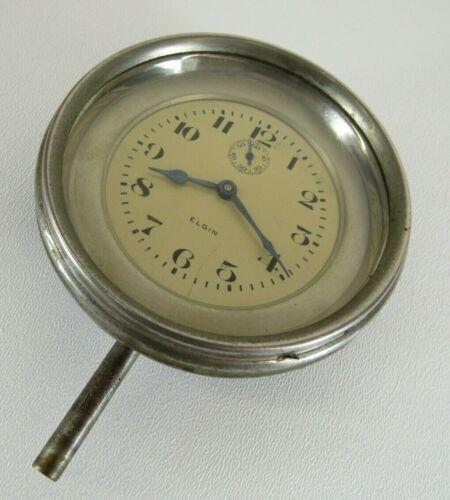 Vintage ELGIN 8 Day Long Stem Car Clock Automobile Dash Wind Up