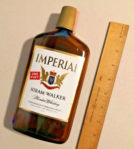 "VINTAGE IMPERIAL HIRAM WALKER  WHISKEY BOTTLE 9"" One PINT --  1769"
