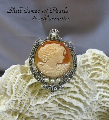 Marcasite & Shell Cameo w/Pearls Sterling Silver Filigree Brooch