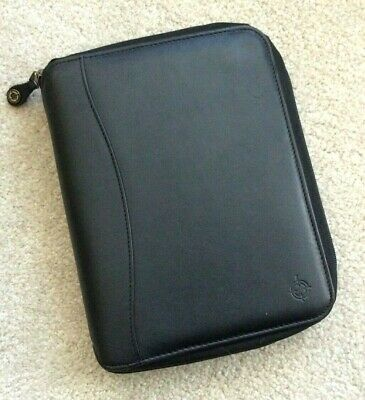 Classic Franklin Covey Spacemaker 1.25 Black Leather Zip Planner Binder Usa Pda