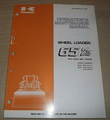 Kawasaki 65ziv 65z-iv Wheel Loader Operation Maintenance Book Manual Sn 65j2