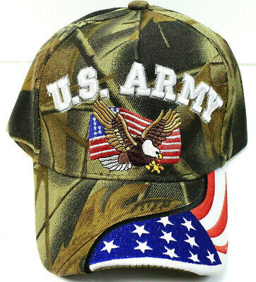 ARMY VETERAN Cap/Hat w/Eagle & Flag Bill Military CAMOFLAUGE**Free Shipping**