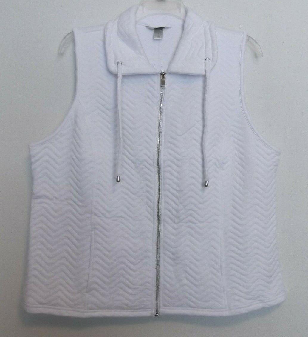 CJ Banks Cozy White chevron stitch vest, zip front, Sizes 1X