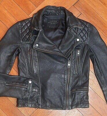 AllSaints Women's Black Grey CARGO Leather Biker Jacket UK 4