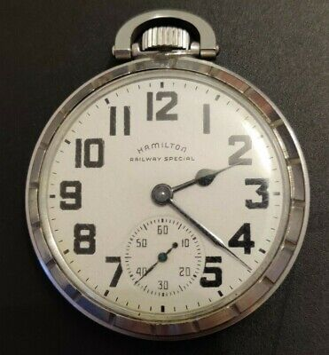 Vintage Hamilton 992B Railway Special Stainless Steel Pocket Watch Size 16 AS IS