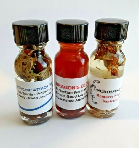 Protection Oil Set 3 Bottles Banish Protect Remove Hexes Uncrossing Conjure Oil