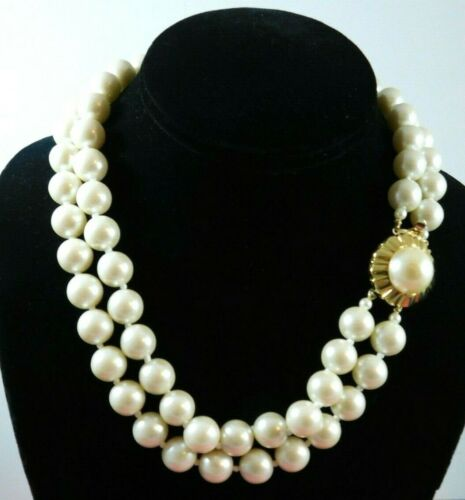 Vintage White Faux Pearl Necklace Two Strand Hand Knotted Decorative Clasp