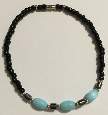 Gemstone 9.5 Inch Bracelet Anklet Black Onyx Larimar Blue Cats Eye Hematite Bead