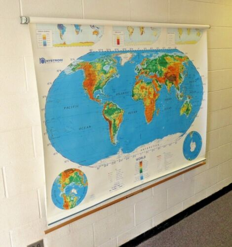 NYSTROM 2 LAYER PULL DOWN MAP School room vintage USSR 65 x 55 inches