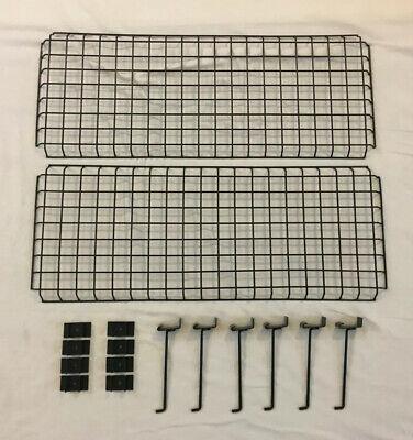 2 1 Black Gridwall Panels 28 X 11 W 6 Long Arm Hooks Mounting Hardware