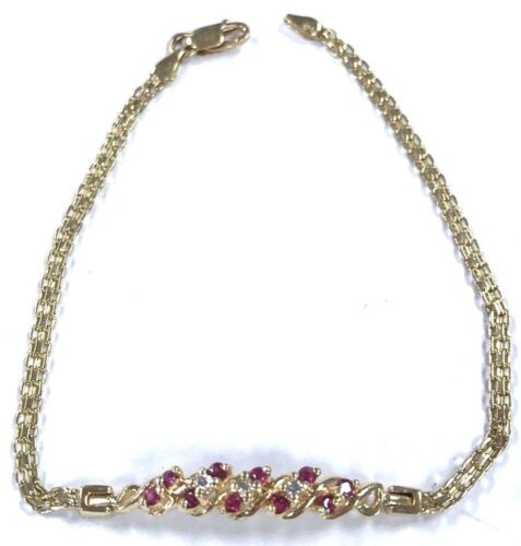14 Karat Yellow Gold Vintage Style Genuine Ruby And Diamond Bracelet B120