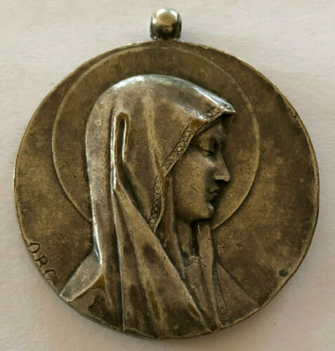 """Antique Catholic Religious Holy Medal / Massive / Lourdes By """" OBC """" / 35 Grams"""
