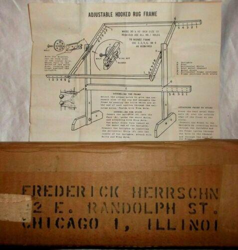 """Vintage Herrschner Adjustable Hooked  Wood Rug Floor Frame, Up to 30 x 40"""" NIP"""
