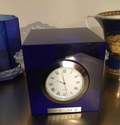 MEDUSA CLOCK PAPERWEIGHT GORGONA BLUE CRYSTAL ORNAMENT RARE SALE