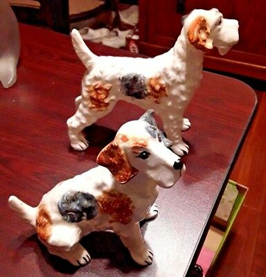 Cute Pair of Dog Figurines One Sitting One Standing Wire Haired Fox Terriers