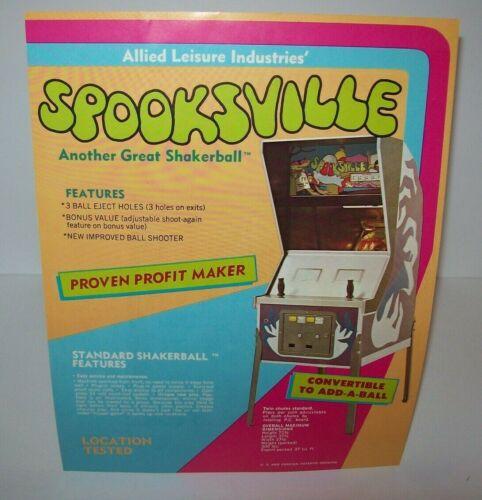 Spooksville Pinball FLYER Original Halloween Horror Artwork Sheet 1973 Allied