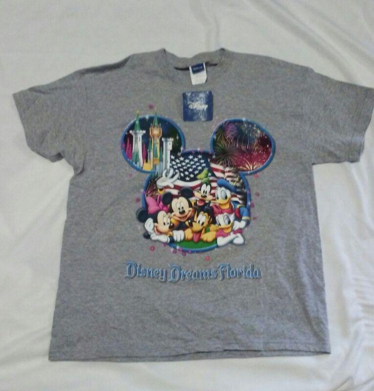Disney Dreams Florida T Shirt Unisex XLarge Fireworks American Flag New Gray