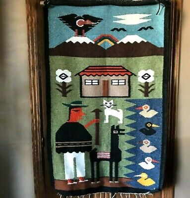 Textile Fiber Folk Art Woven Wall Tapestry Rug South America Man Eagle Alpaca  for sale  Shipping to Canada