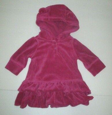 - INFANT GIRLS BABY GAP MAGENTA PINK VELOUR TIER HOODIE EARS DRESS SIZE 0-3 MONTHS