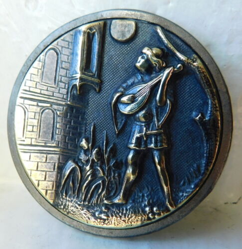 39mm Large Antique collectible brass button~BLONDEL strolling minstrel