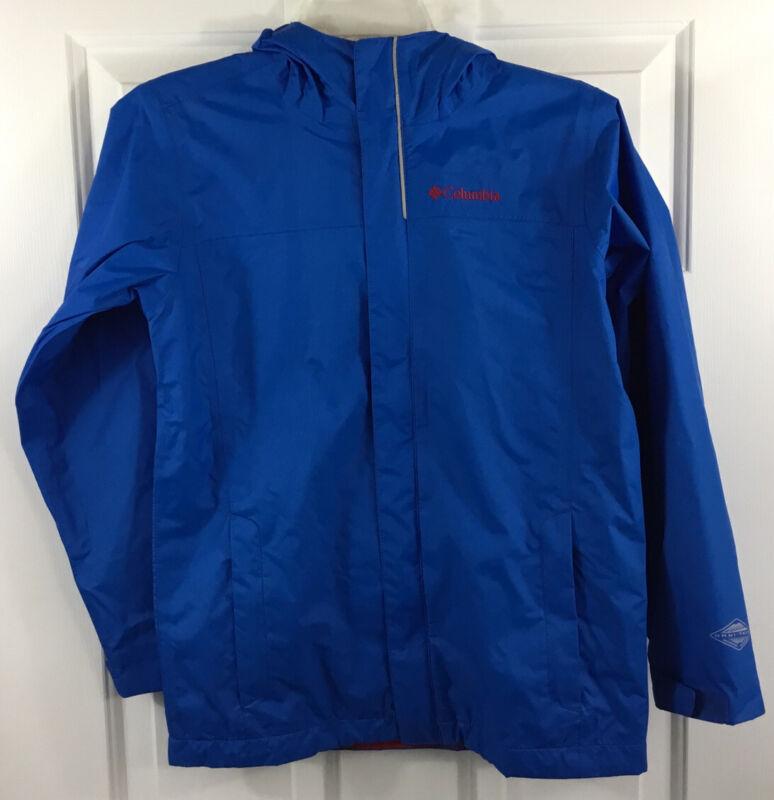Columbia Boy's Omni-Tech Waterproof Hooded Rain Jacket Blue Youth Size M (10-12)