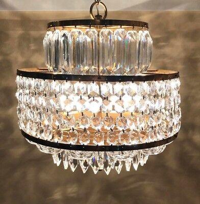 "Waterford Lismore Cut Crystal Chandelier Brass Frame Modern MCM 16"" Diameter ](Chandelier Frame)"