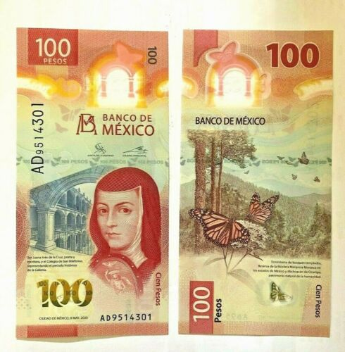 Mexico NEW 2020 100 pesos Sor Juana Butterfly Banknote Crisp uncirc