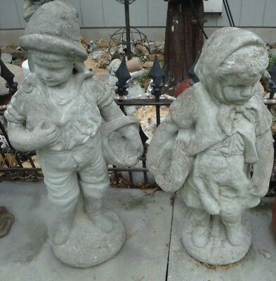 Vintage Antique Boy & Girl Garden Yard Cement Concrete Statues Ornament